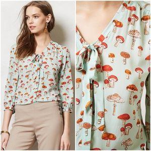 RARE Anthropologie Toadstool Mushroom Blouse 2
